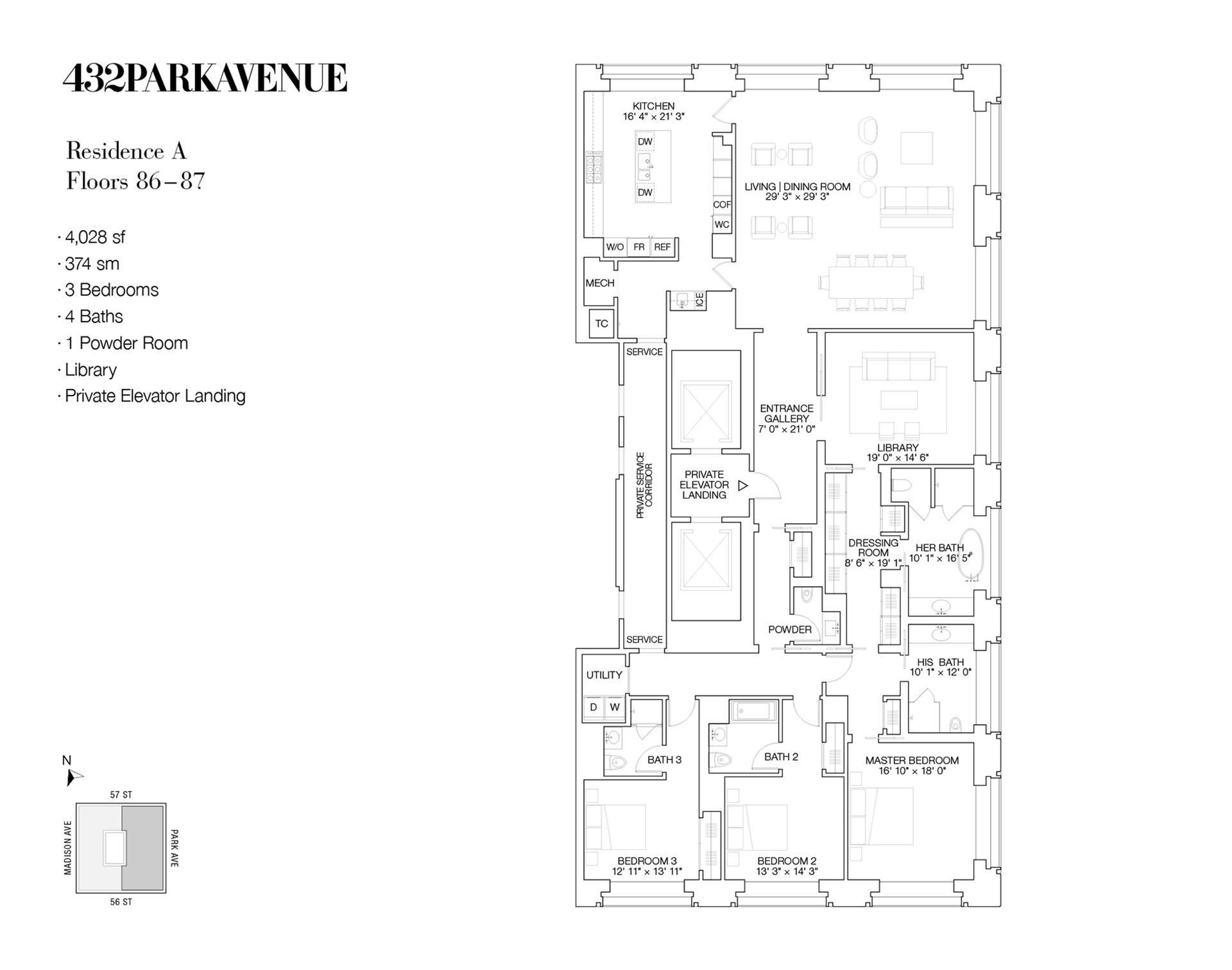 Floor plan of 432 Park Avenue, 86A - Midtown, New York