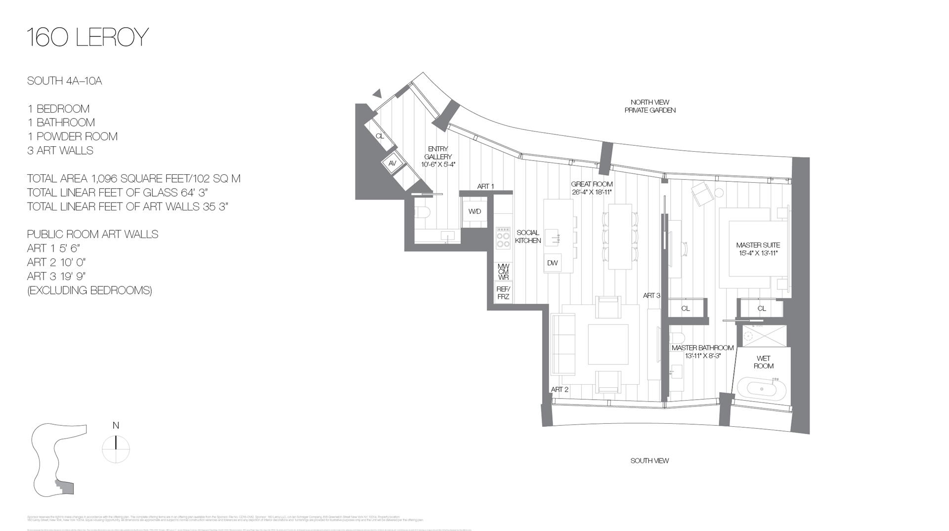 Floor plan of 160 Leroy St, SOUTH10A - West Village - Meatpacking District, New York