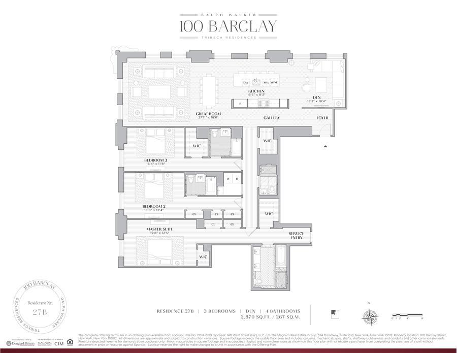 Floor plan of Ralph Walker Tribeca, 100 Barclay Street, 27B - TriBeCa, New York