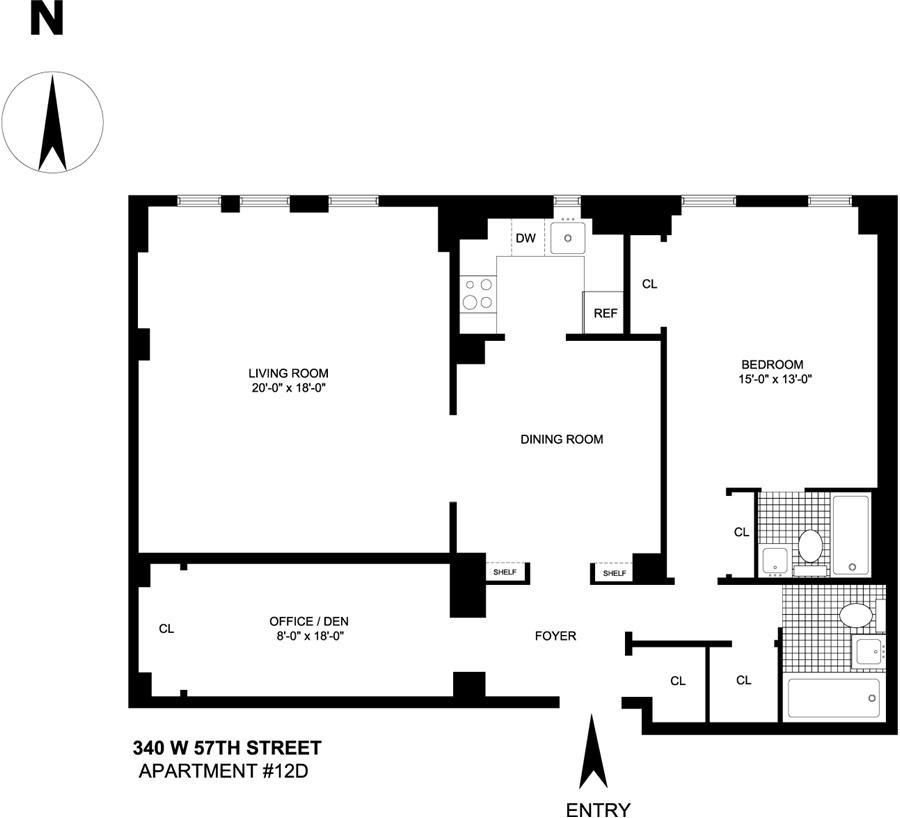 Floor plan of 340 West 57th Street, 12D - Clinton, New York