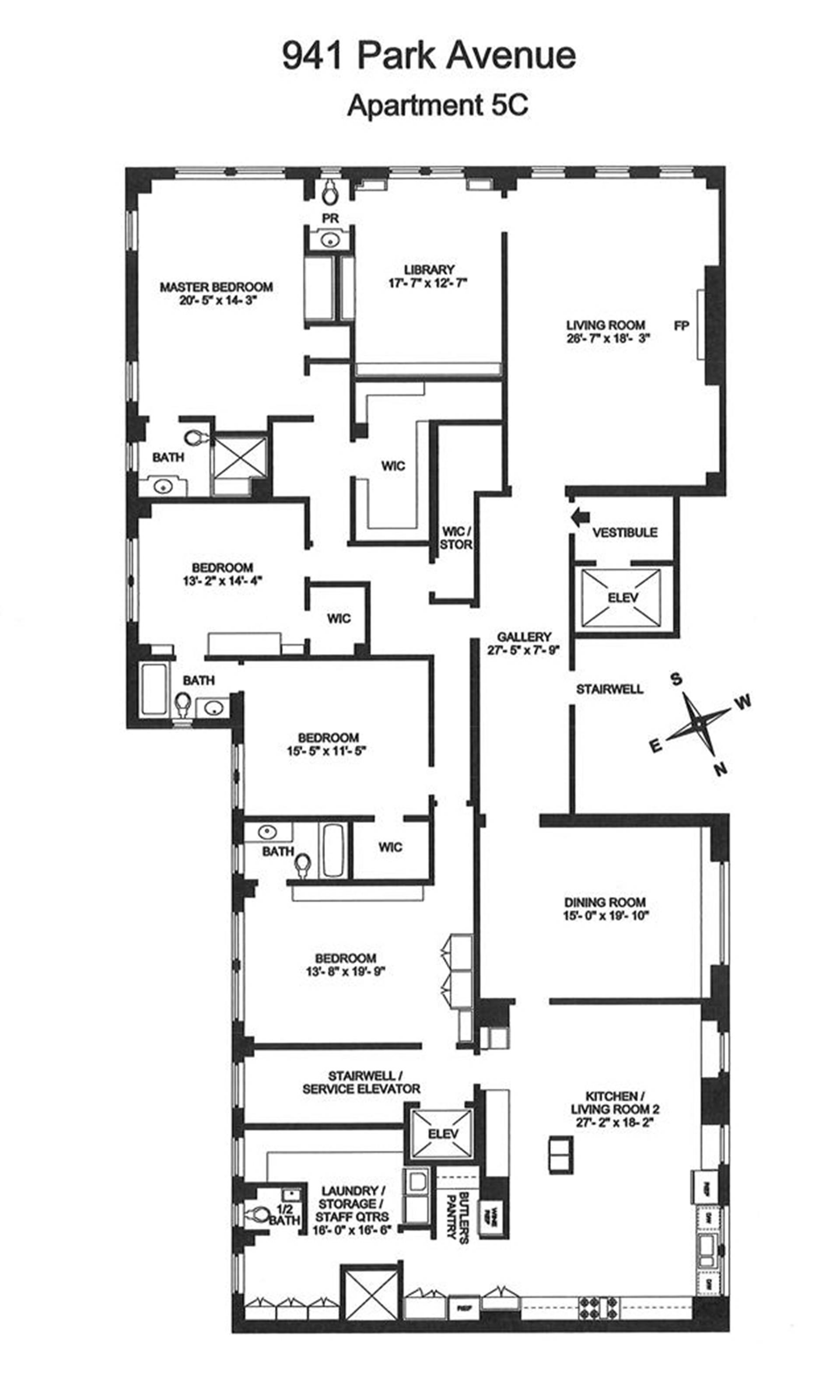 Floor plan of 941 Park Avenue, 5C - Upper East Side, New York