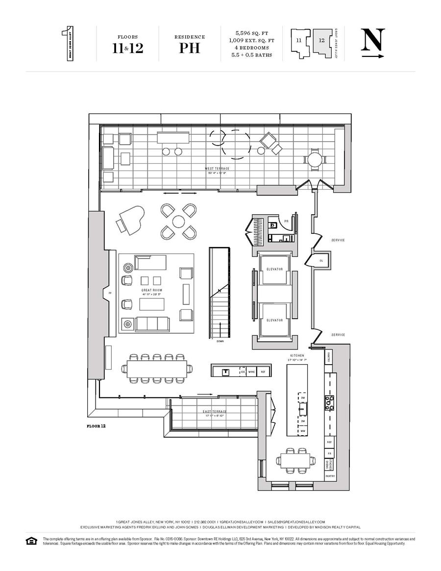 Floor plan of 1 Great Jones Alley, PH - NoHo, New York