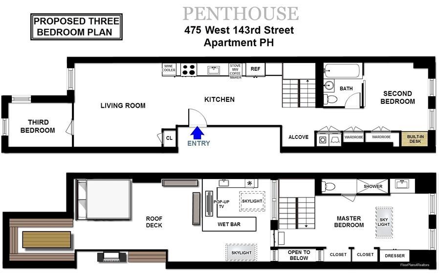 Floor plan of 475 West 143rd Street, PH - Harlem, New York