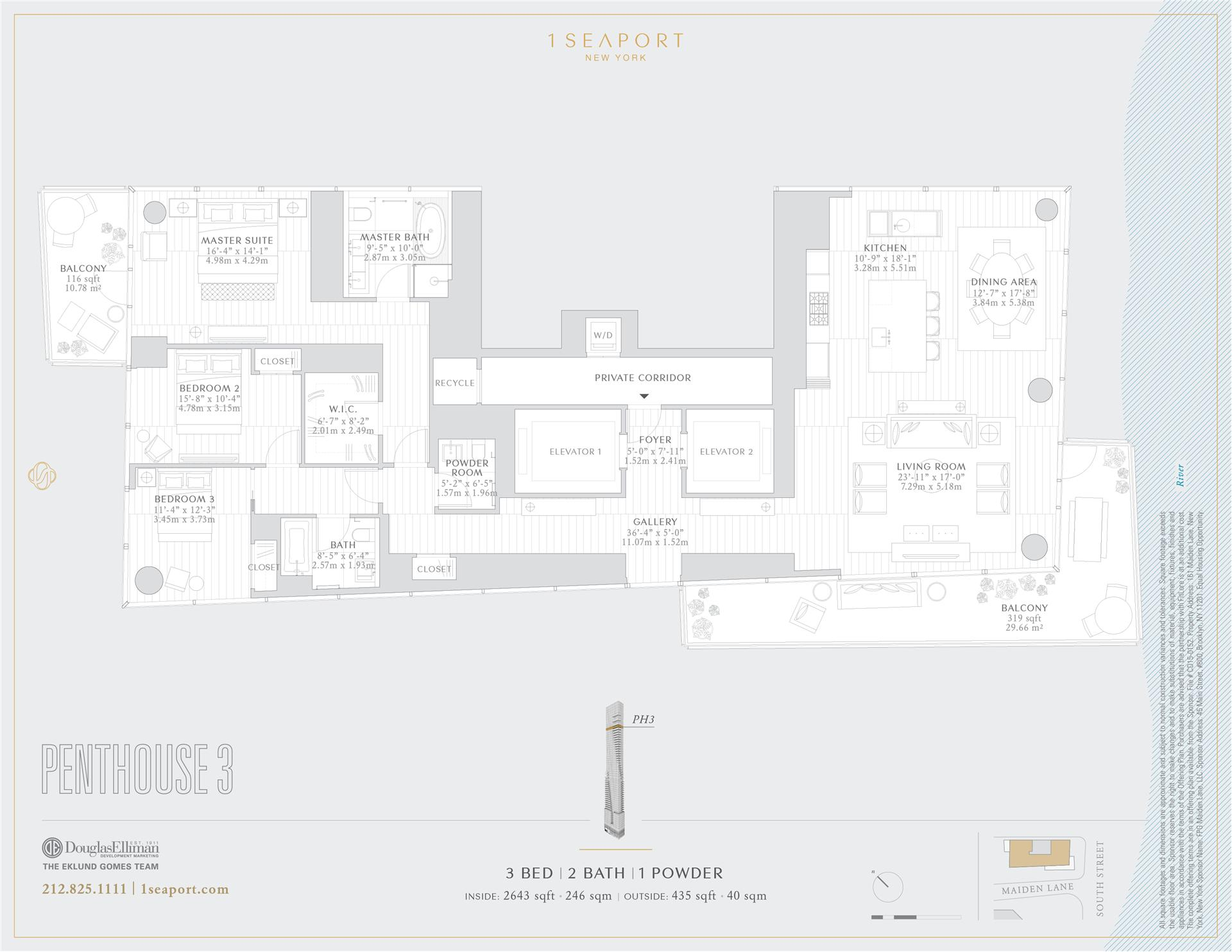 Floor plan of 1 Seaport, 161 Maiden Ln, PH3 - Financial District, New York