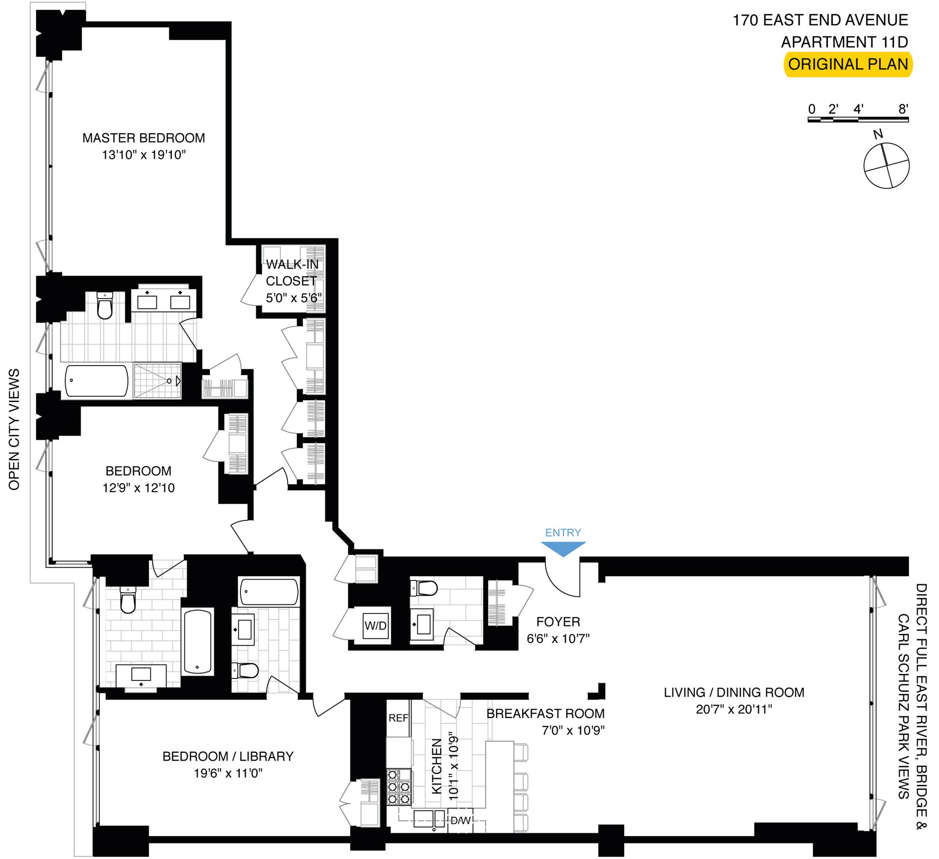 Floor plan of 170 East End Avenue, 11D - Upper East Side, New York