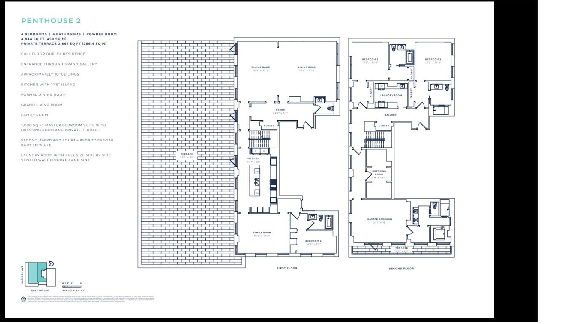 Floor plan of 33 East 74th Street, 33 East 74th St, PH2 - Upper East Side, New York