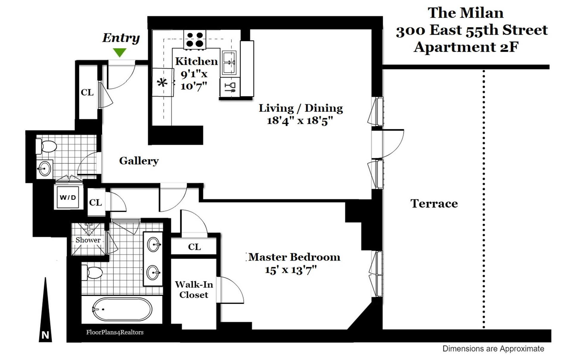 Floor plan of 300 East 55th St, 2F - Midtown, New York