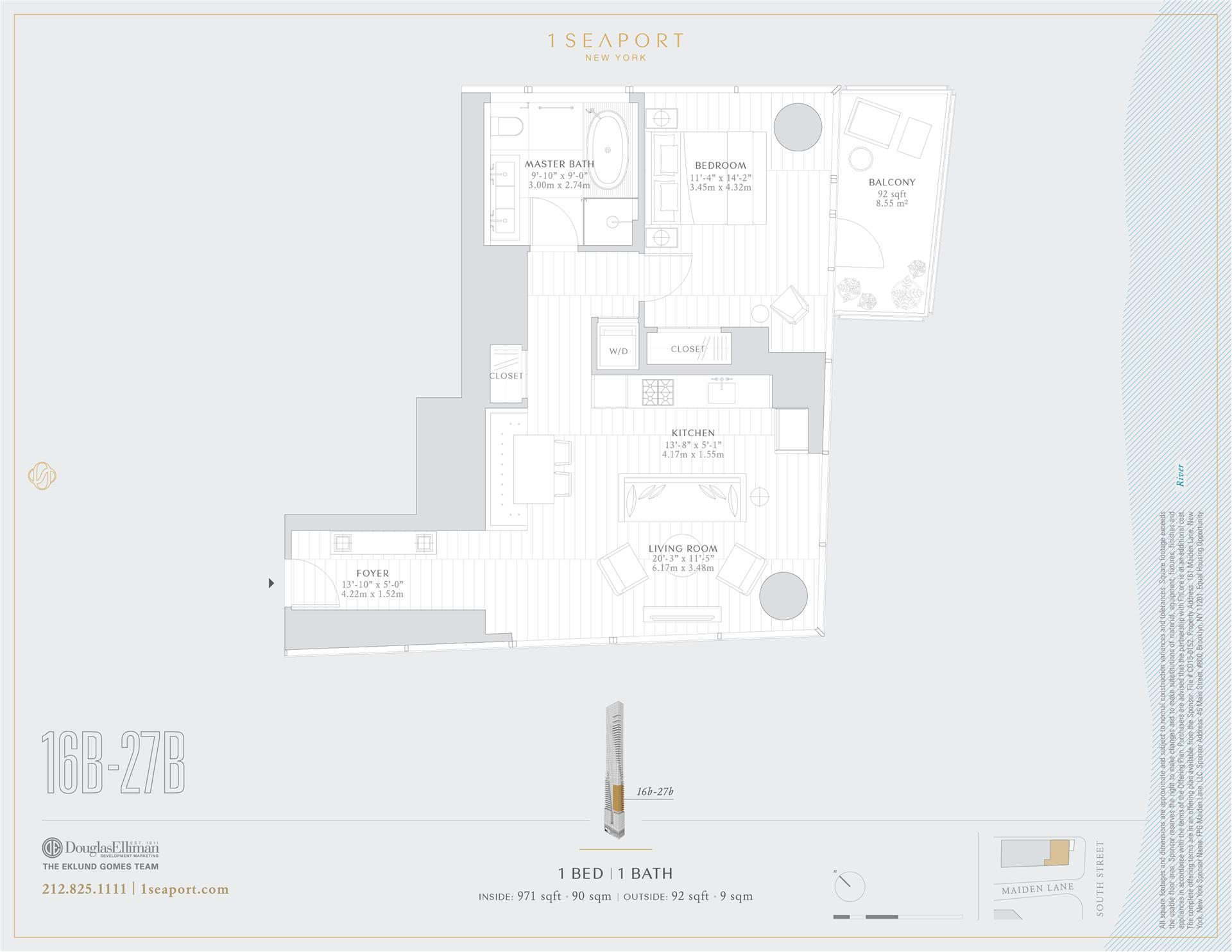 Floor plan of 1 Seaport, 161 Maiden Ln, 22B - Financial District, New York