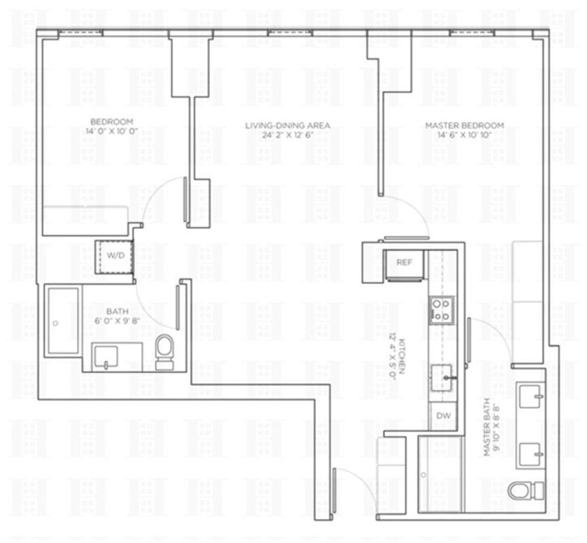 Floor plan of 540 West, 540 West 49th St, 403N - Midtown, New York