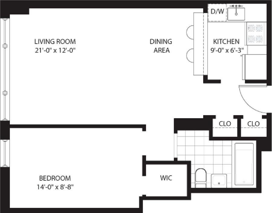 Floor plan of THE GLOUCESTER, 200 West 79th Street, 9B