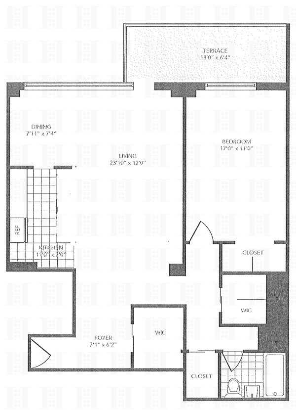 Floor plan of Park West Village, 392 Central Park West, 7X - Upper West Side, New York