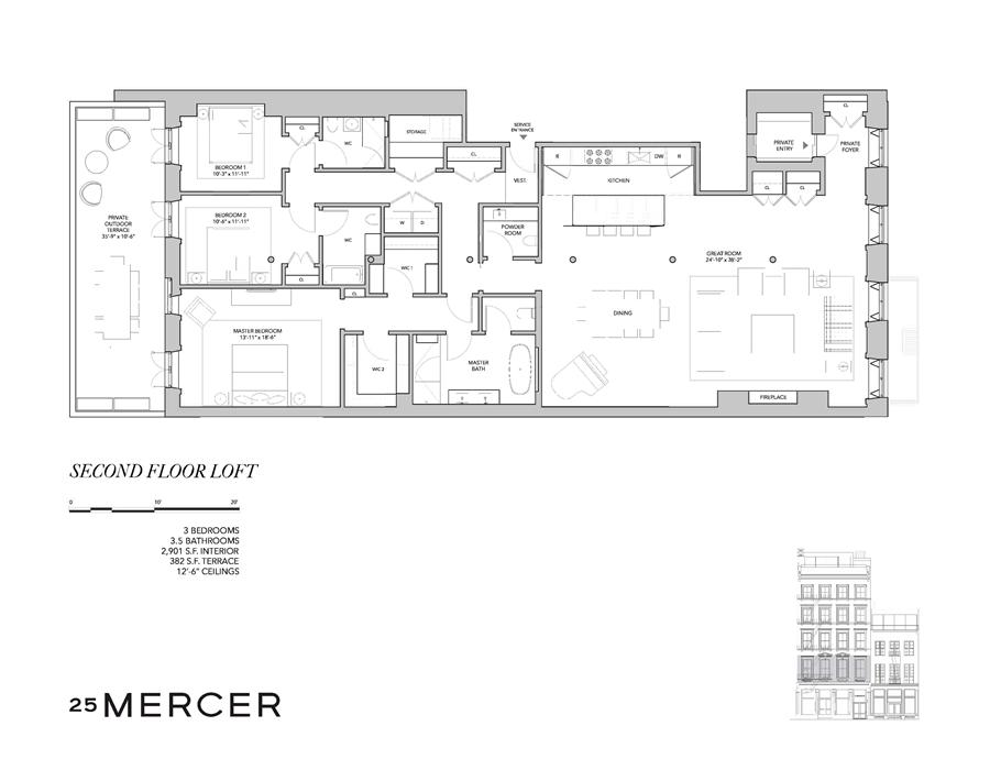 Floor plan of 25 Mercer St, 2 - SoHo - Nolita, New York