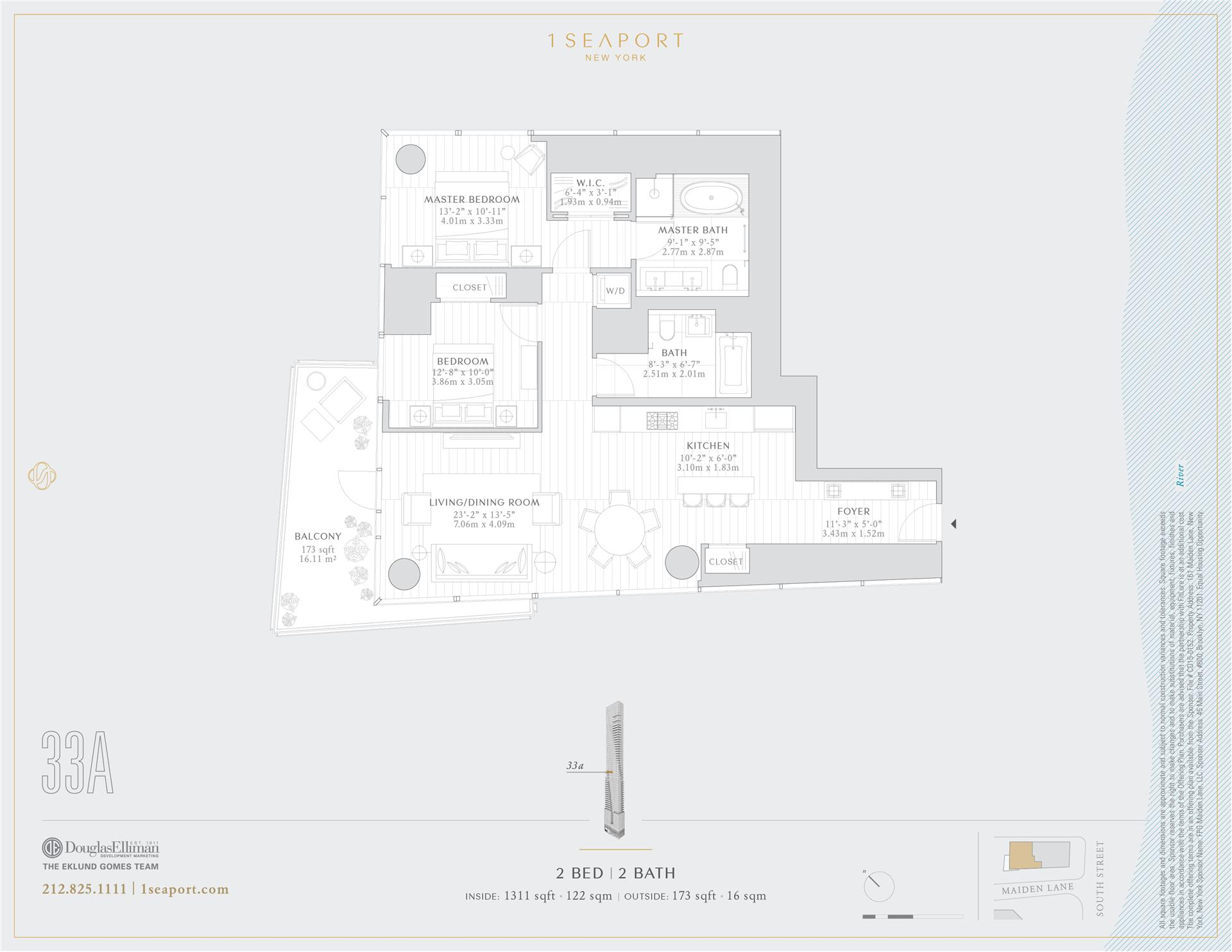 Floor plan of 1 Seaport, 161 Maiden Ln, 33A - Financial District, New York