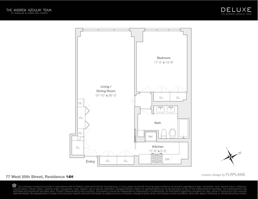 Floor plan of 77 West 55th Street, 14H - Midtown, New York