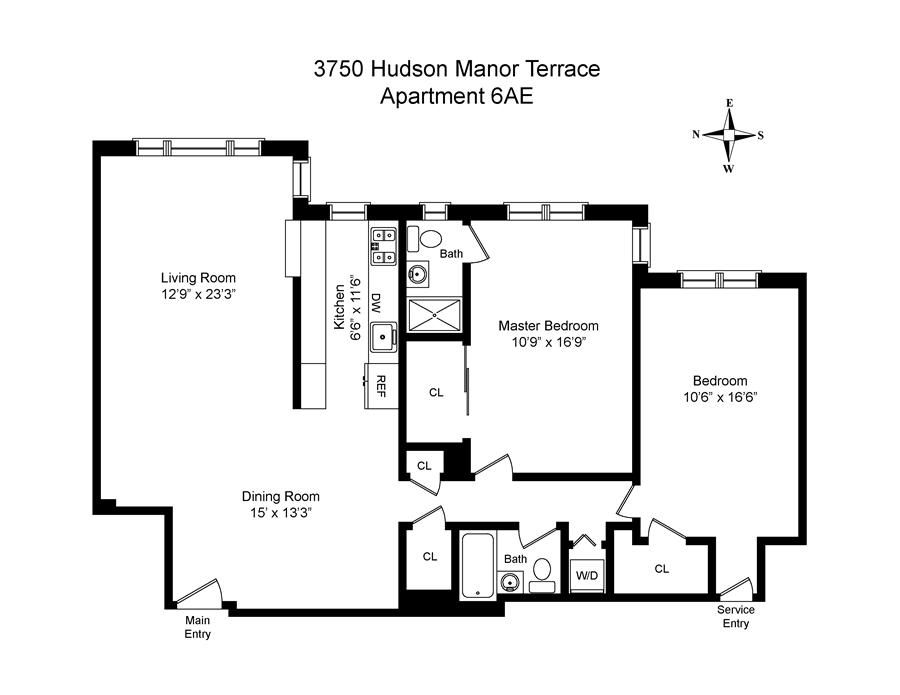 Floor plan of 3750 Hudson Manor Terrace, 6AE - Riverdale, New York