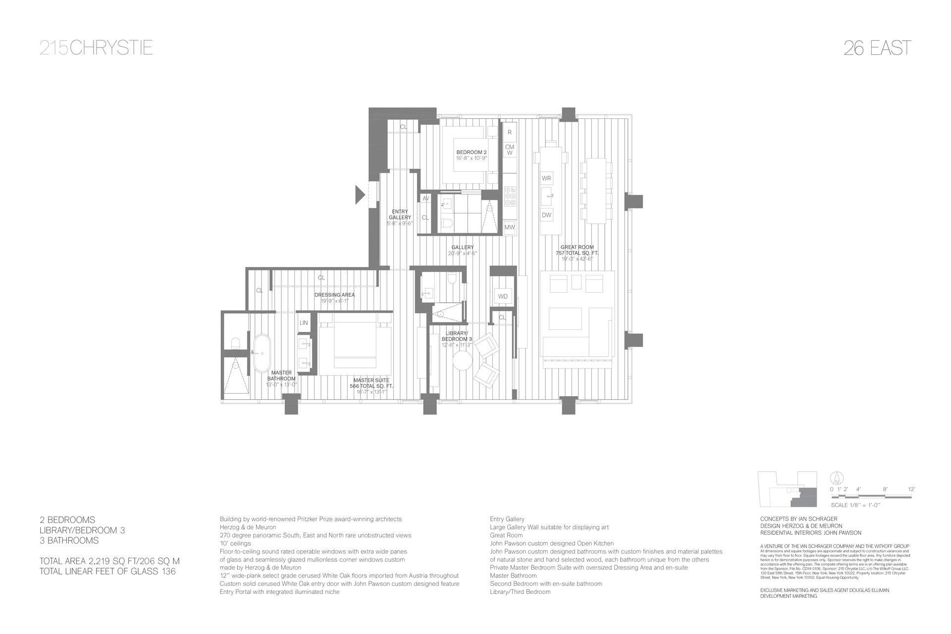 Floor plan of 215 Chrystie St, 26EAST - Lower East Side, New York