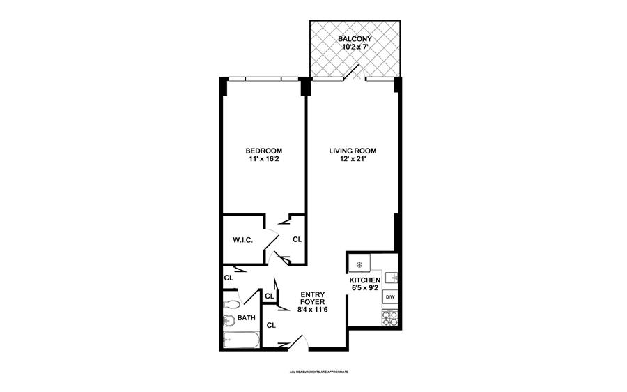 Floor plan of 75 Henry St, 27G - Brooklyn Heights, New York