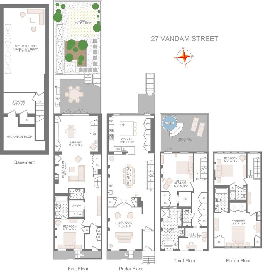 Floor plan of 27 Vandam St - Greenwich Village, New York