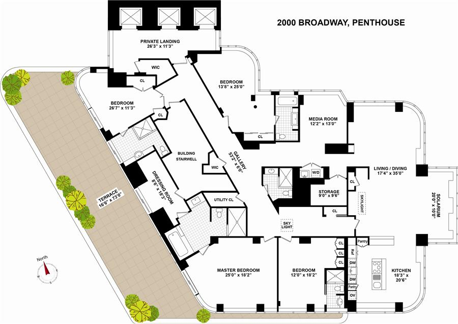 Floor plan of THE COPLEY, 2000 Broadway, PH - Upper West Side, New York