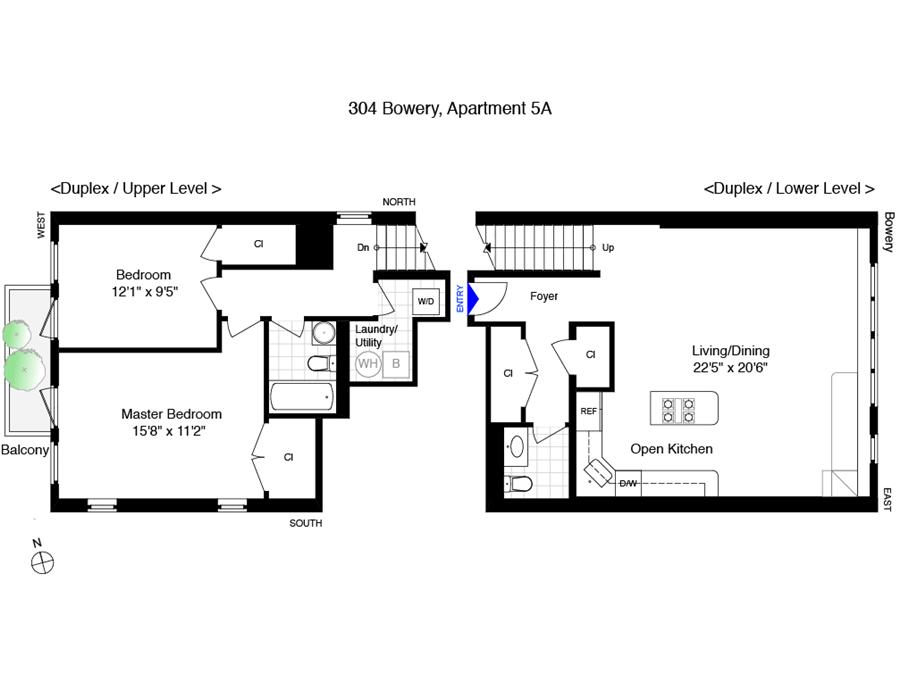 Floor plan of 304 Bowery, 5A - East Village, New York