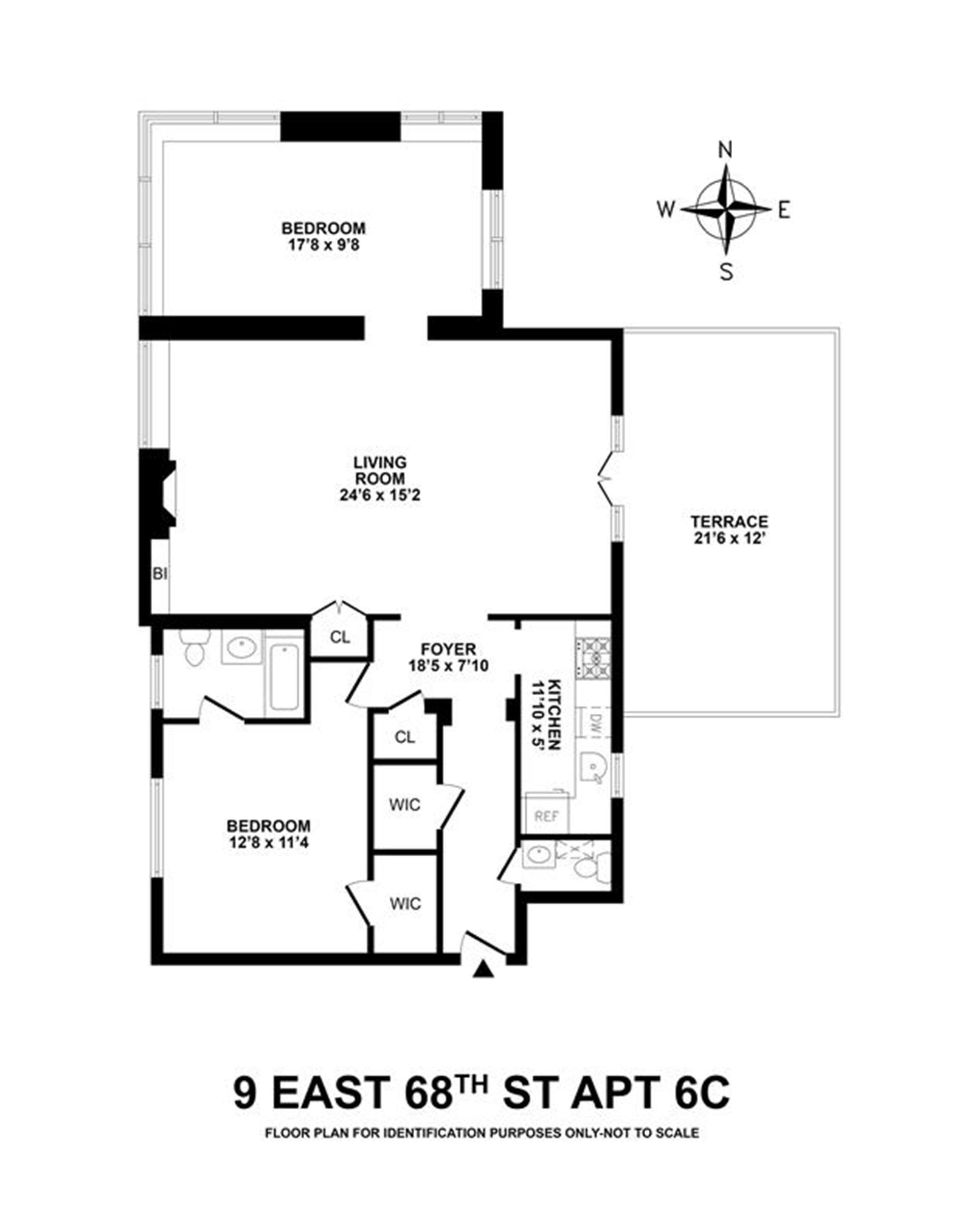 Floor plan of 9 East 68th St, 6B - Upper East Side, New York