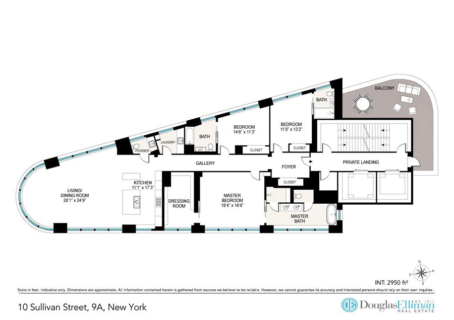 Floor plan of 10 Sullivan Street, 9A - SoHo - Nolita, New York