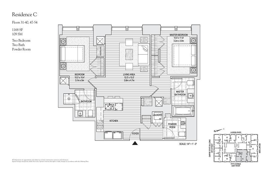 Floor plan of 400 Fifth Avenue, 52C - Midtown, New York