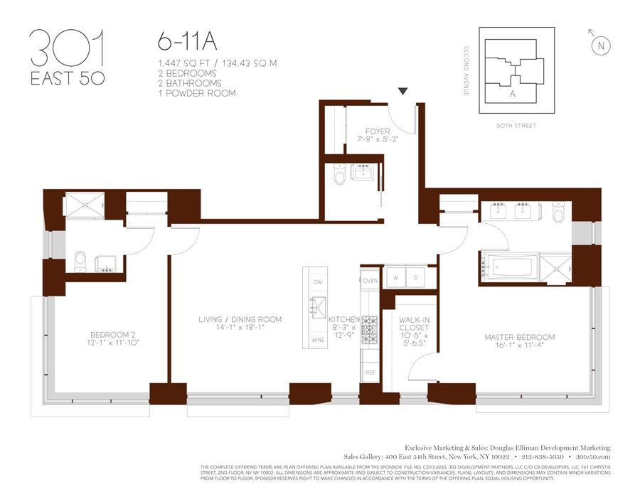 Floor plan of 301 East 50th St, 9A - Turtle Bay, New York