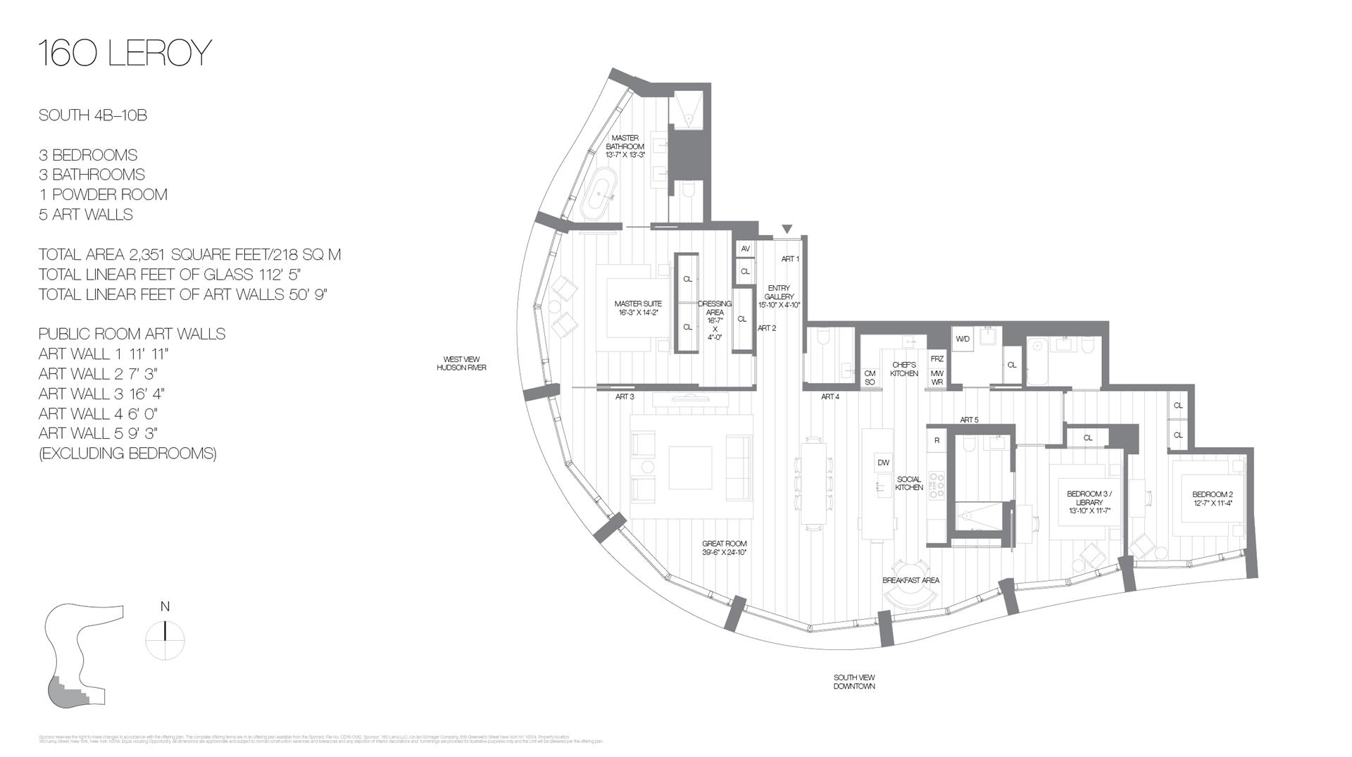 Floor plan of 160 Leroy St, SOUTH5B - West Village - Meatpacking District, New York