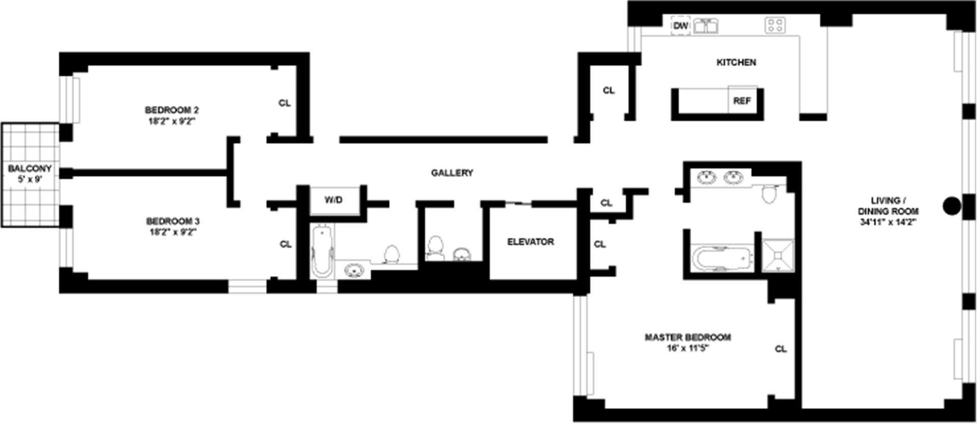 Floor plan of 330 East 57th Street, 330 East 57th St, 11FL - Sutton Area, New York