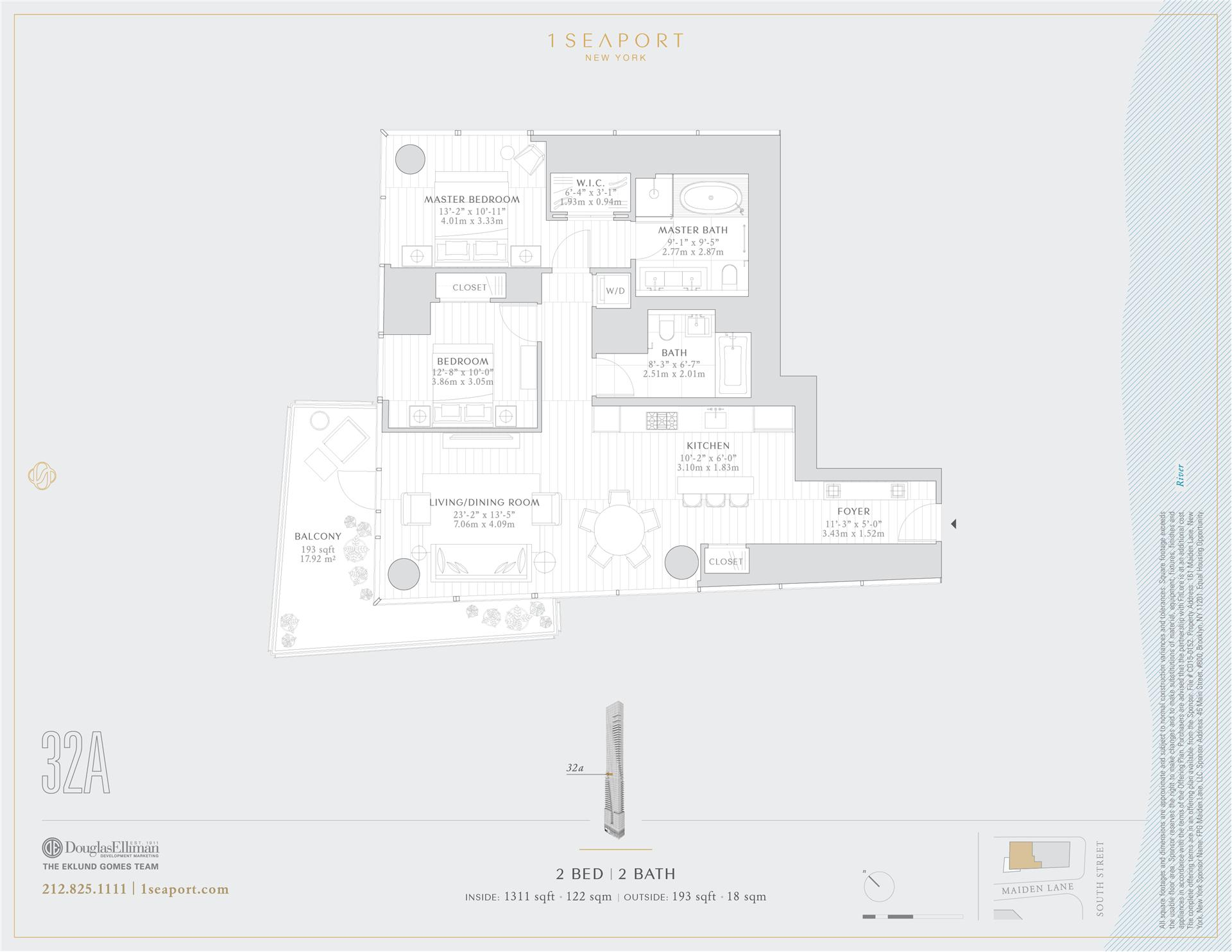 Floor plan of 1 Seaport, 161 Maiden Ln, 32A - Financial District, New York