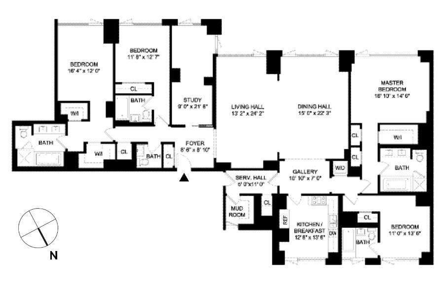 Floor plan of 170 East End Avenue, 7AB - Upper East Side, New York