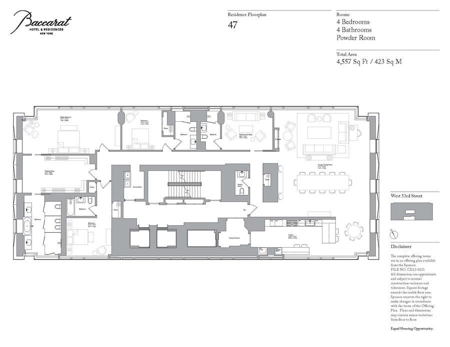 Floor plan of BACCARAT HOTEL & RESIDENCES, 20 West 53rd St, 47 - Midtown, New York