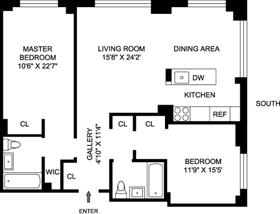 Floor plan of THE COVE CLUB CONDO, 2 South End Avenue, 5P - Battery Park City, New York