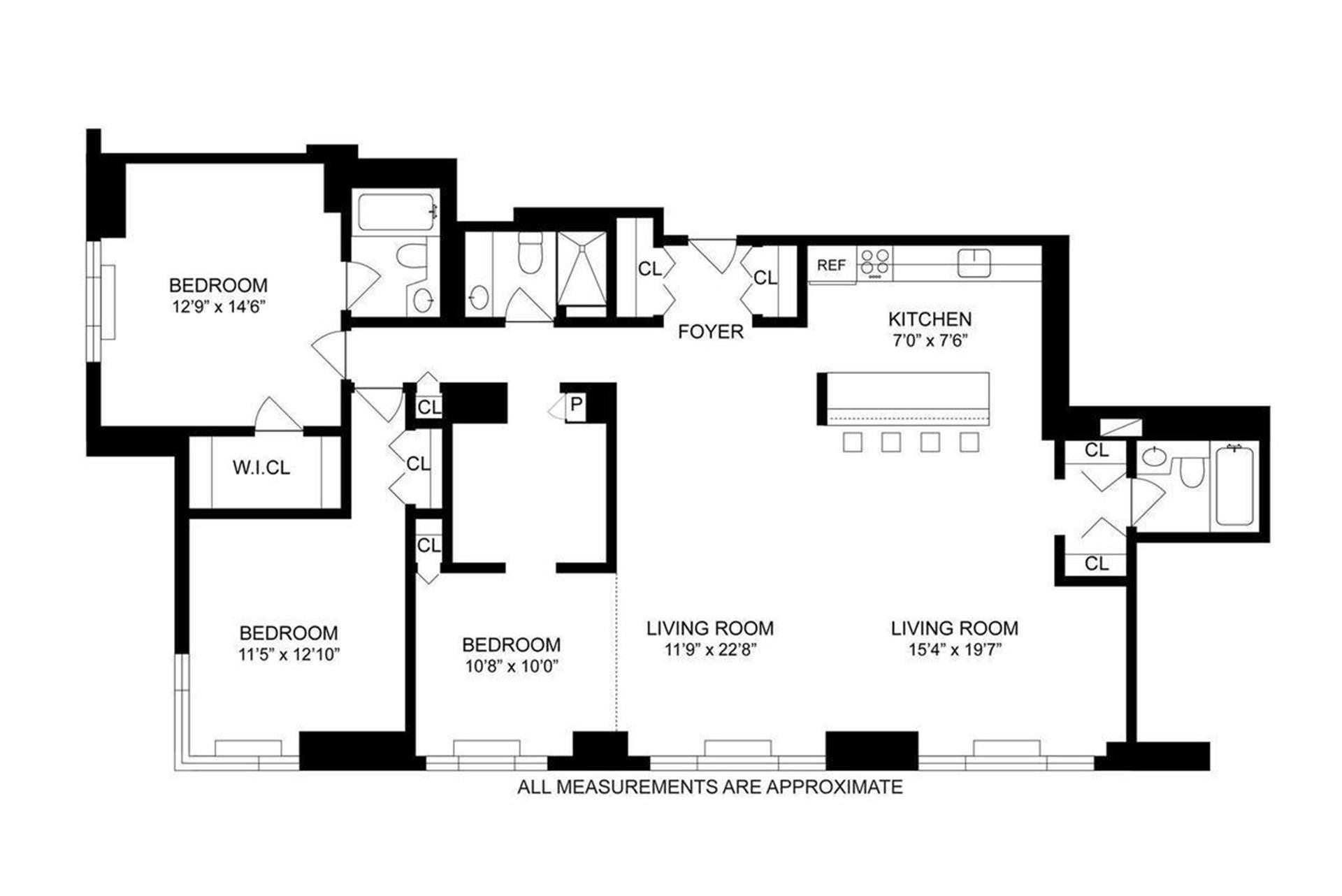 Floor plan of THE BEAUMONT, 30 West 61st St, 9HC - Lincoln Square, New York