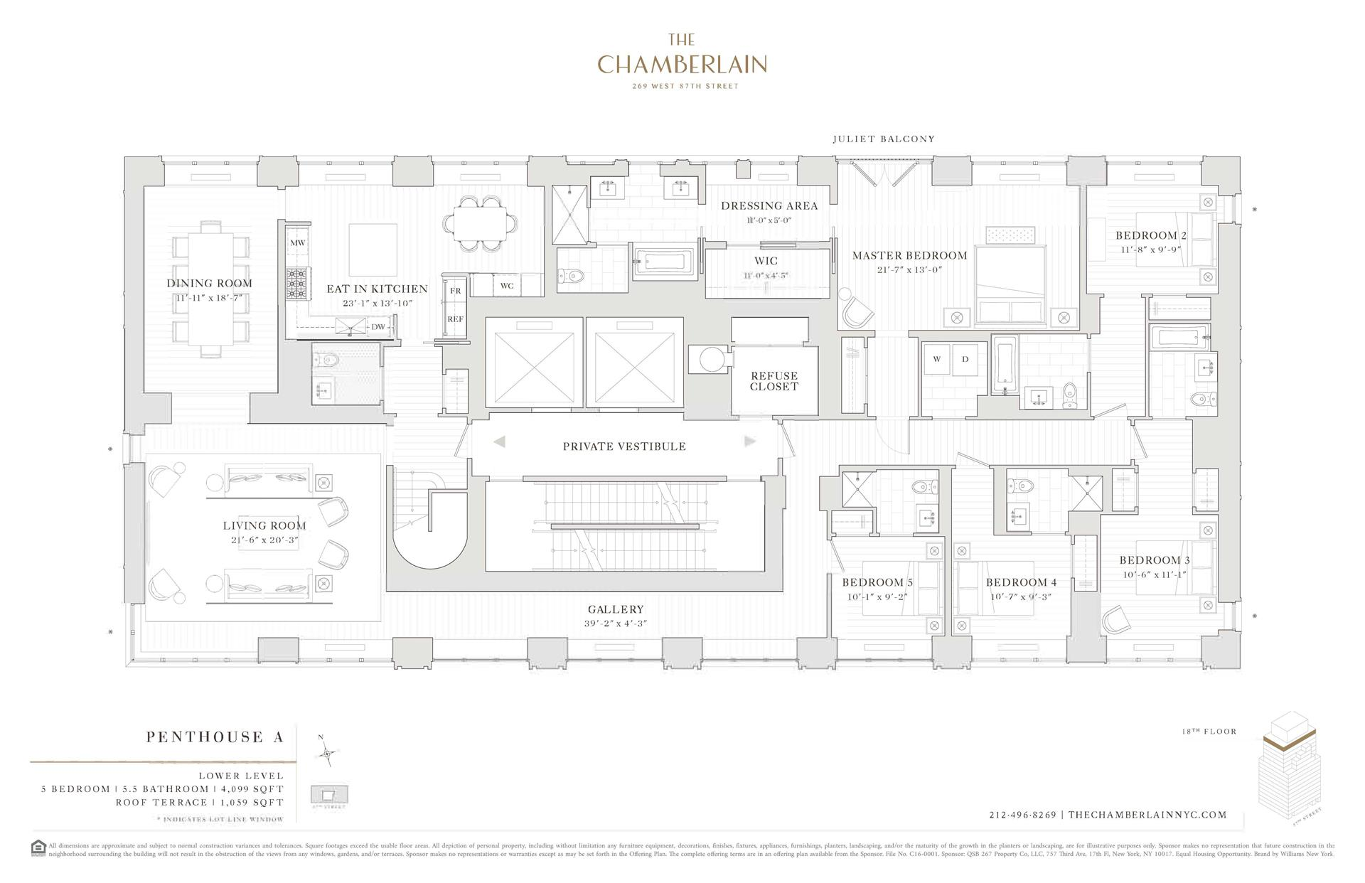 Floor plan of 269 West 87th St, PHA - Upper West Side, New York