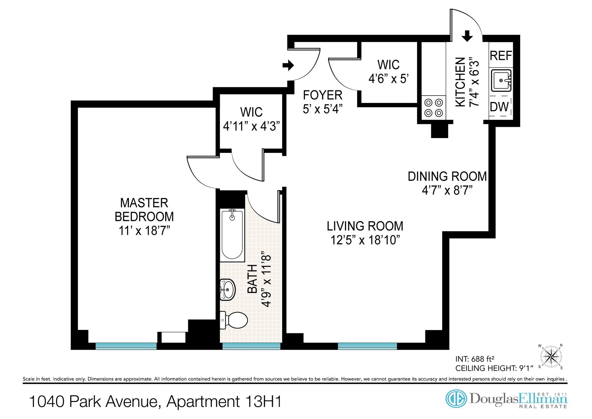 Floor plan of Park-86 Apartment Corp., 1040 Park Avenue, 13H1 - Carnegie Hill, New York