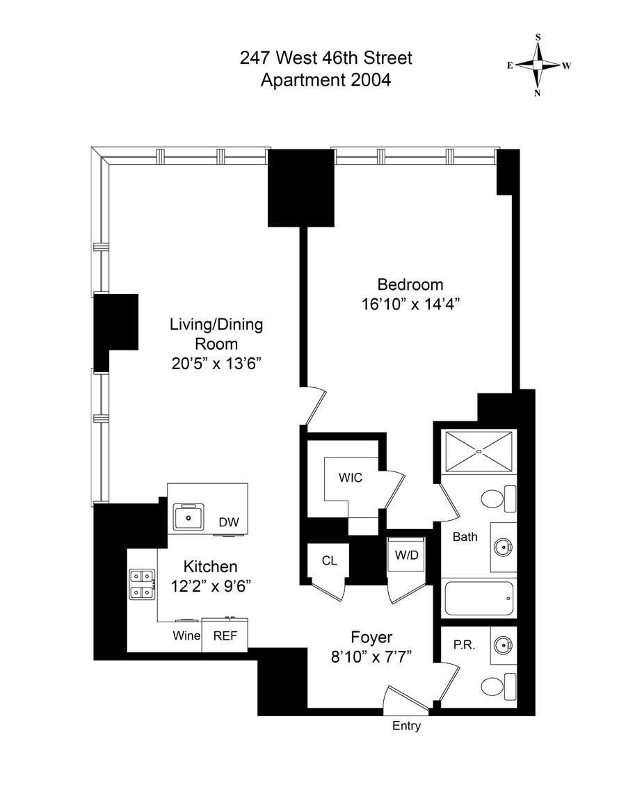 Floor plan of Platinum, 247 West 46th St, 2004 - Midtown, New York