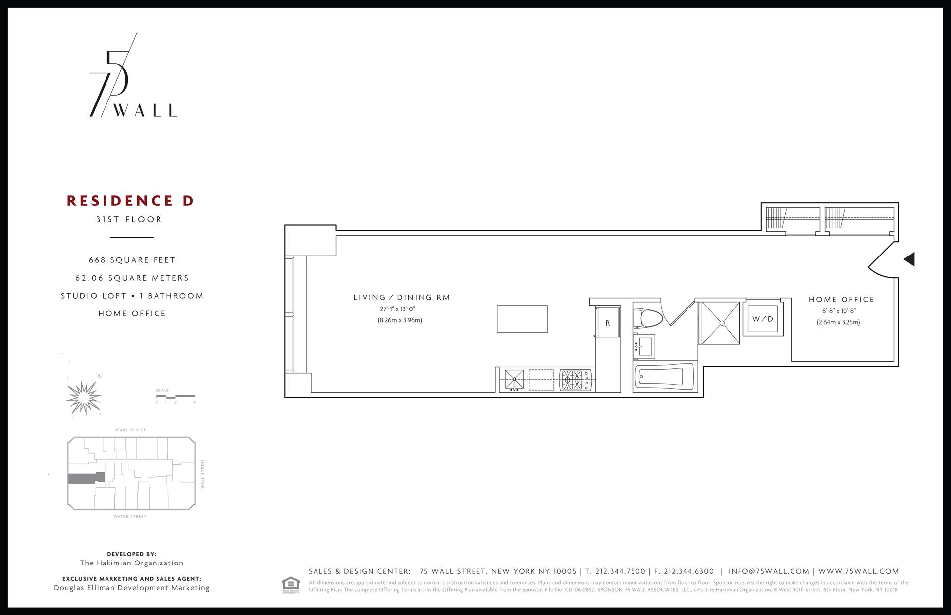 Floor plan of 75 Wall St, 31D - Financial District, New York