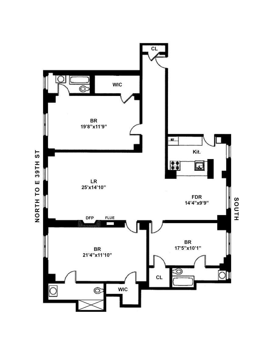 Floor plan of GRIFFON, 77 Park Avenue, 12E - Murray Hill, New York