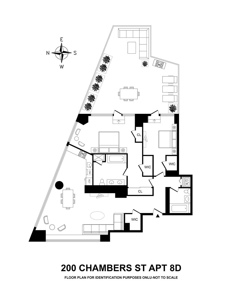 Floor plan of 200 Chambers Street, 8D - TriBeCa, New York