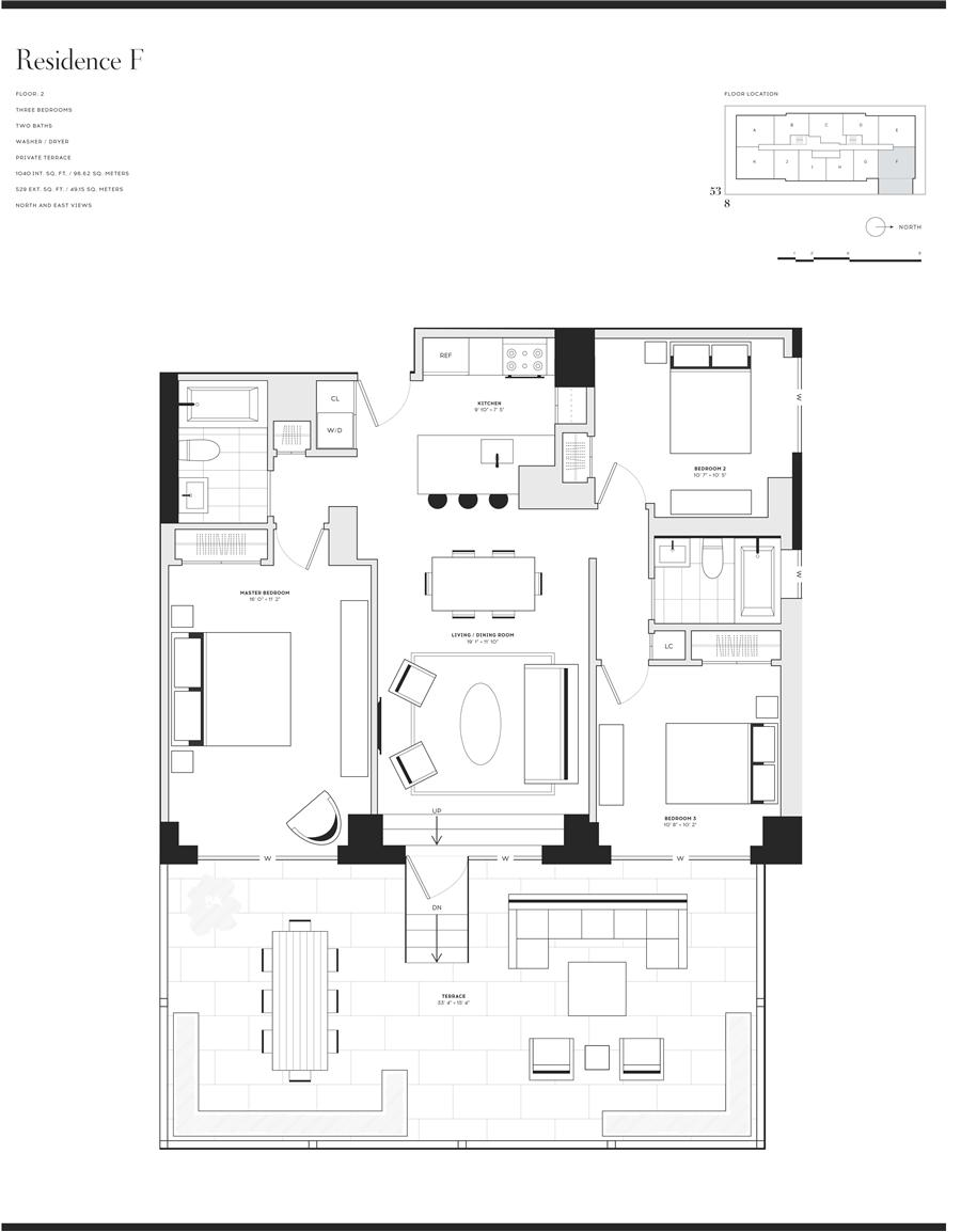 Floor plan of Fifty Third and Eighth, 301 West 53rd Street, 2F - Clinton, New York