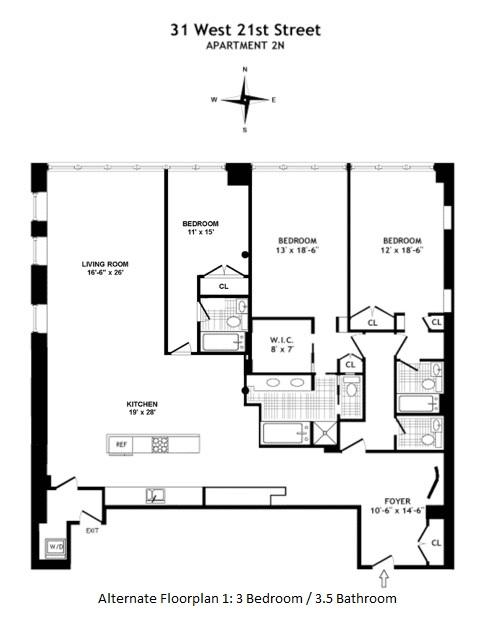 Floor plan of 31 West 21st Street, 2N - Flatiron District, New York