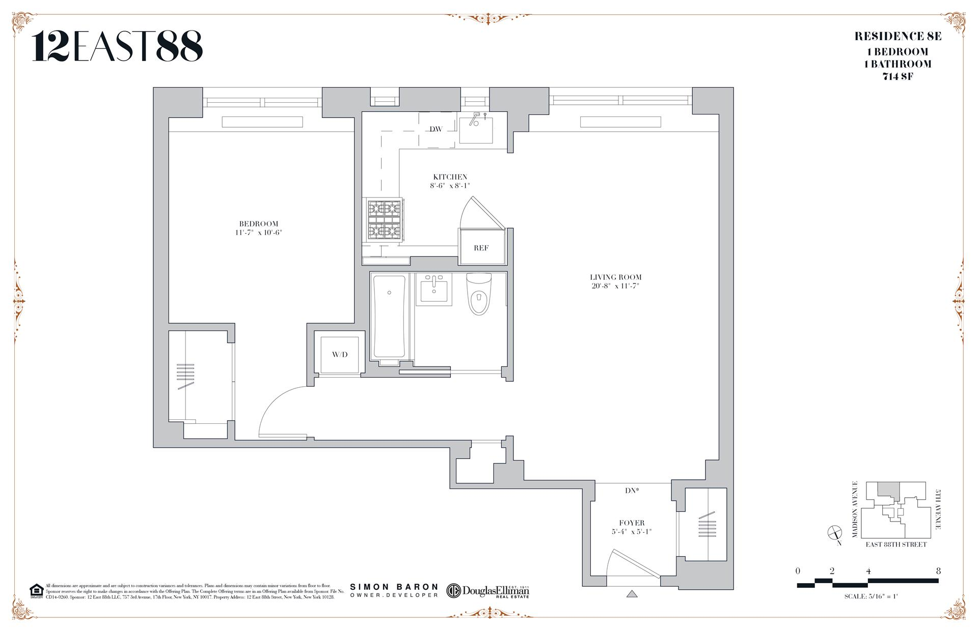 Floor plan of 12 East 88th St, 8E - Carnegie Hill, New York