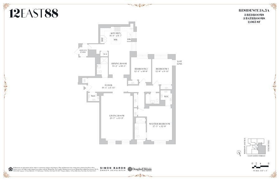 Floor plan of 12 East 88th St, 3A - Carnegie Hill, New York