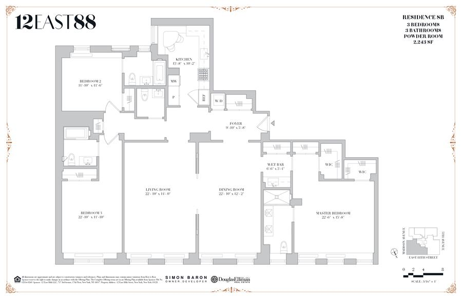 Floor plan of 12 East 88th St, 8B - Carnegie Hill, New York