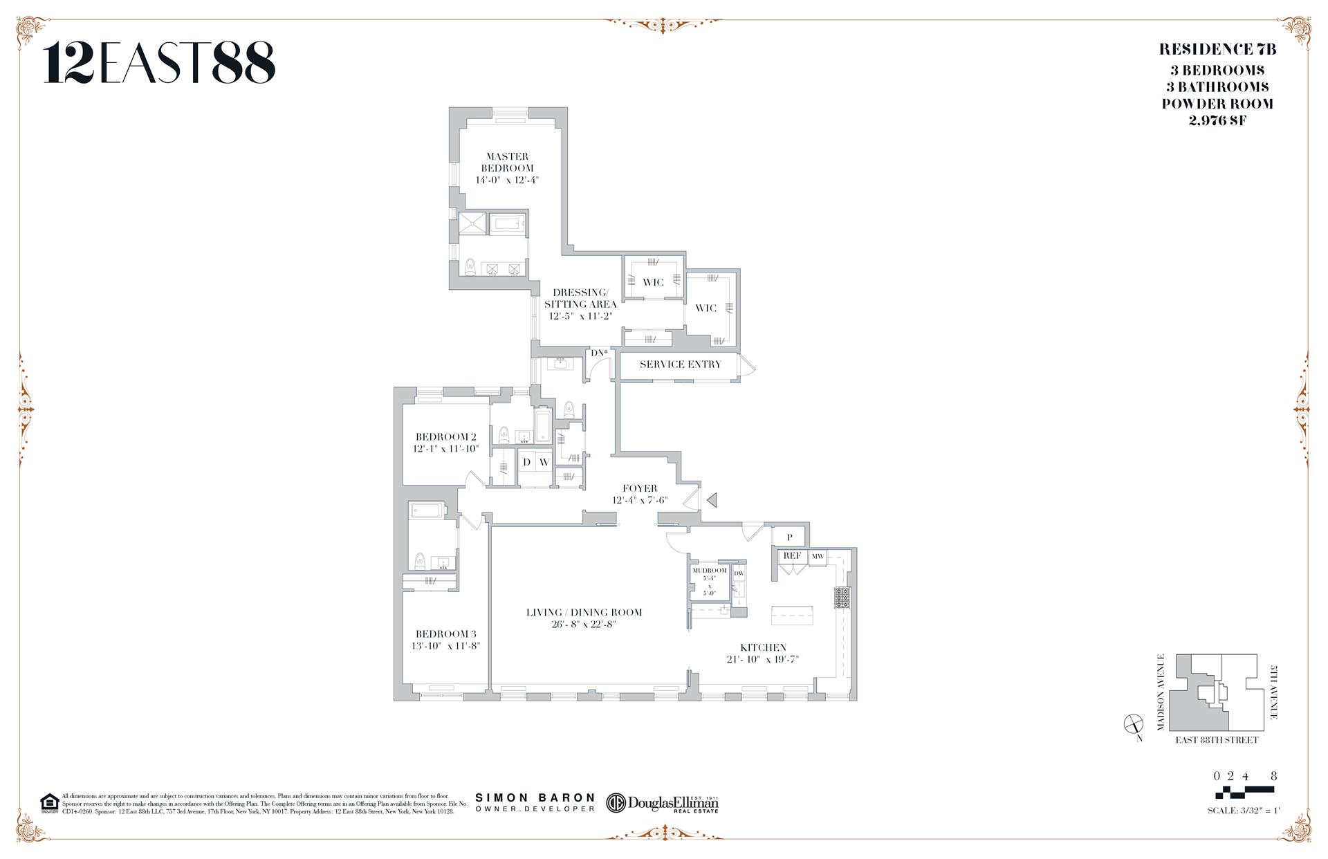 Floor plan of 12 East 88th St, 7B - Carnegie Hill, New York