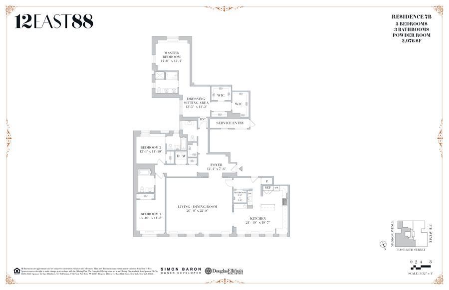 Floor plan of 12 East 88th St, 7B - Carnegie Hill, New York