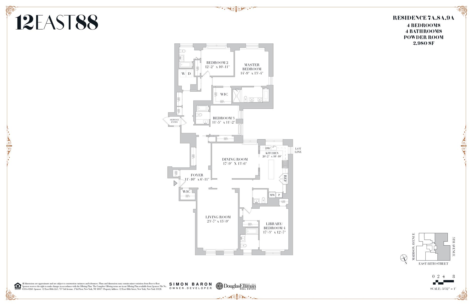 Floor plan of 12 East 88th St, 9A - Carnegie Hill, New York