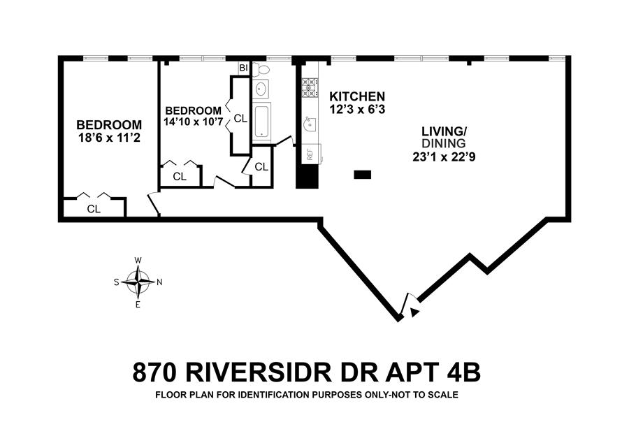 Floor plan of 870 Riverside Drive, 4B - Washington Heights, New York